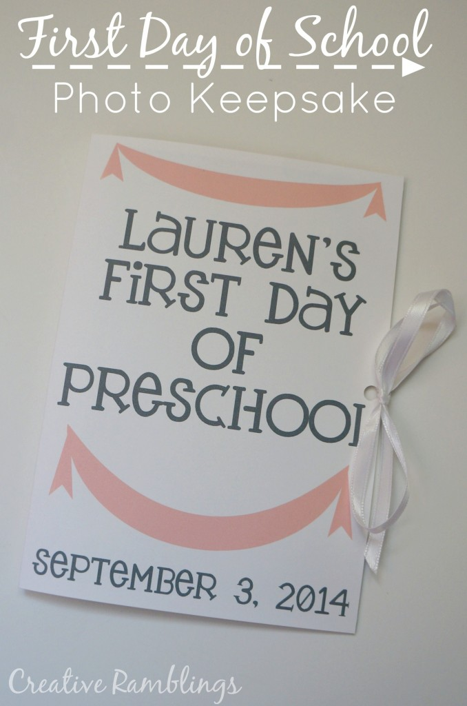 First Day of School Photo keepsake with a Silhouette