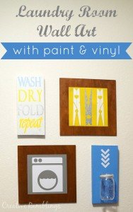 laundry room wall art using paint and vinyl