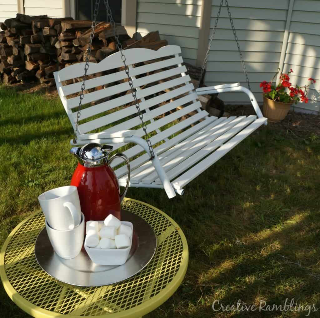 Swing makeover with white solid stain