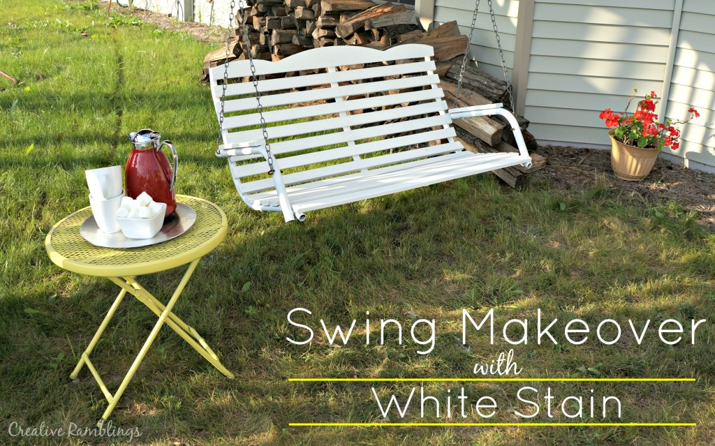 Wood porch swing makeover with white stain