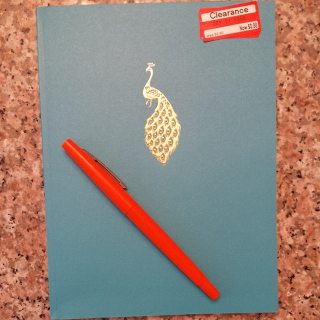 I ♡ a cute notebook. And $.88 is not bad, thanks @Target #notebook #peacock #blogging
