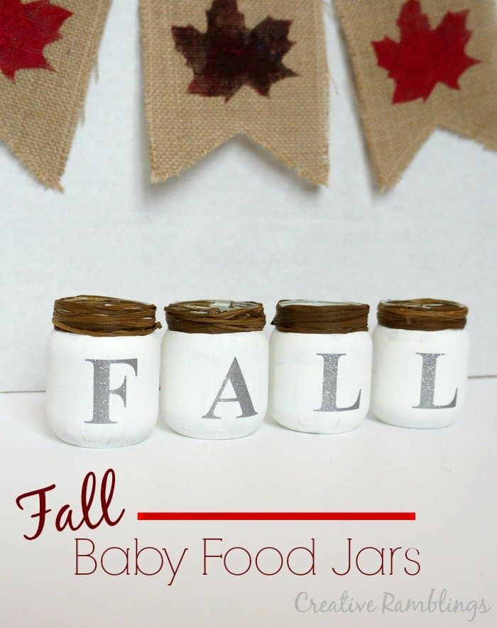 Fall baby food jars.  Chalk paint and glitter vinyl #fall #glitter #chalkpaint