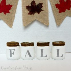 #fall baby food jars using #chalkpaint #glitter vinyl and #rafia