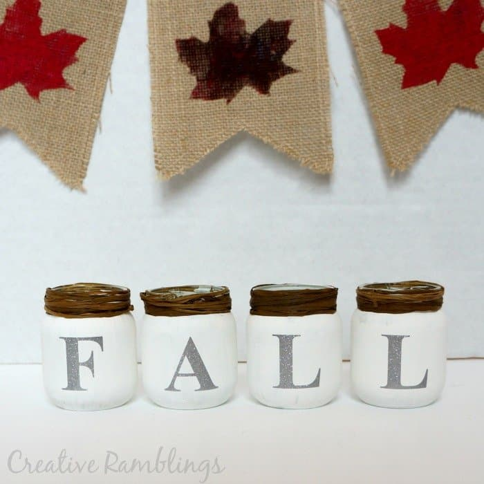 fall jars with chalk paint and glitter vinyl