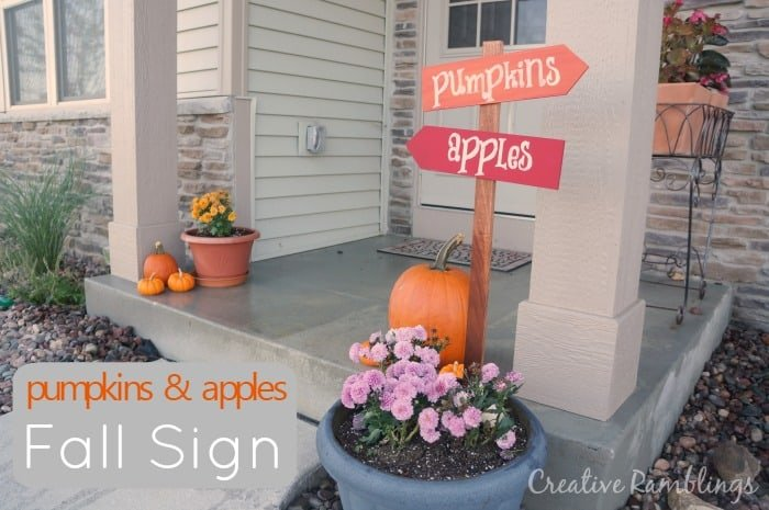 fall porch pumpkin and apple sign