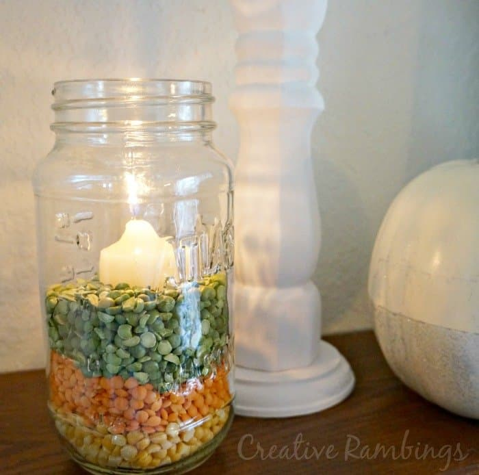 #mason #jar filled with colored peas, easy fall decoration