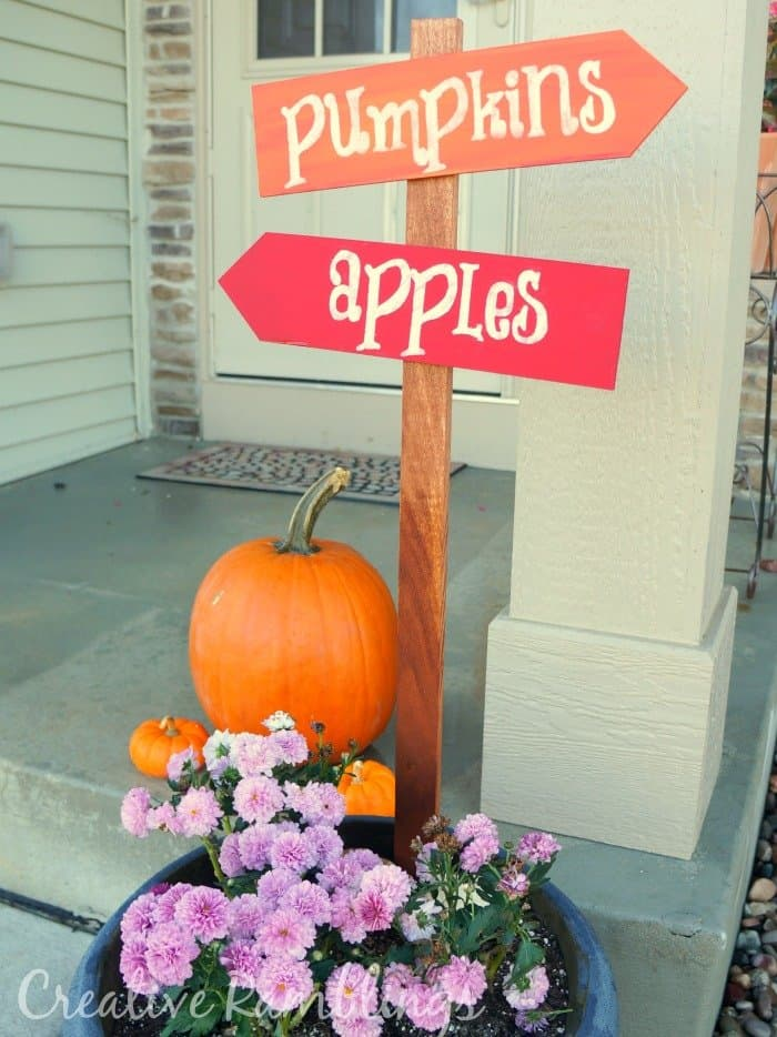 pumpkins and apples fall sign