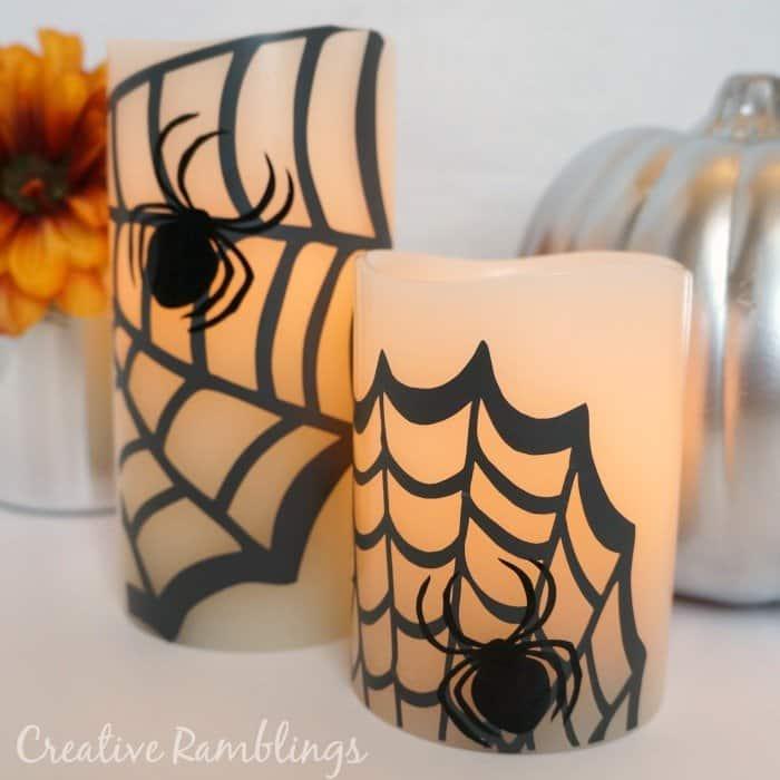 Spider flameless pillar candles. #Halloween Pottery Barn #knockoff