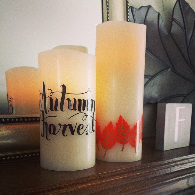 Used vinyl to embellish some flameless candles for my Mom. She liked my spider candles that much! #silhouette #vinyl #autumndecor #candle @silhouetteamerica