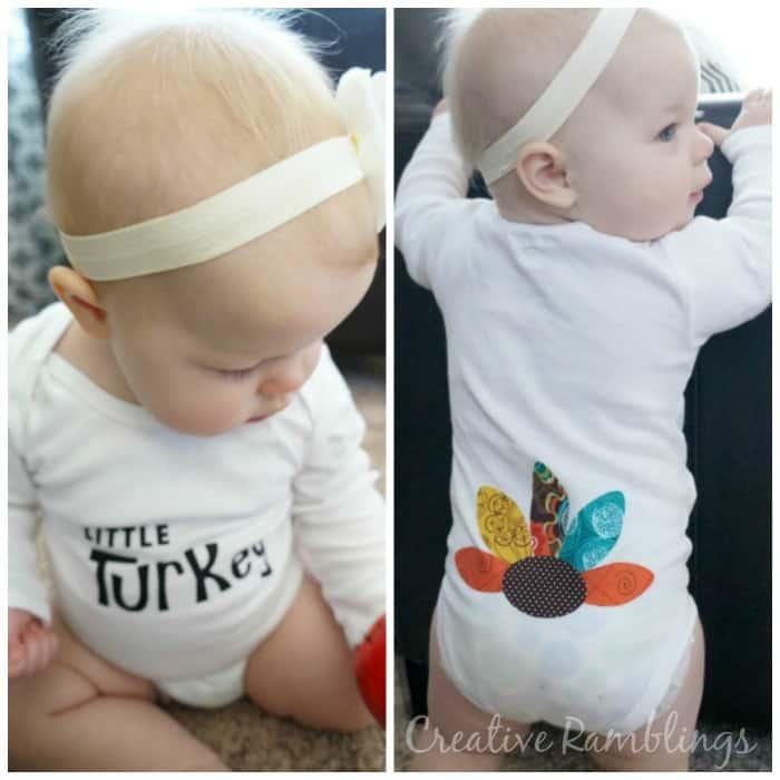 Little Turkey No Sew Thanksgiving Onesie