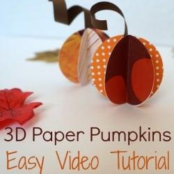 3D paper pumpkins. Easy video tutorial #fall #tutorial #pumpkin #paper #craft