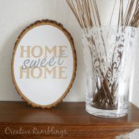 Home Sweet Home Painted Wood Slice