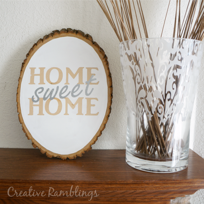 Home Sweet Home Painted Wood Slice