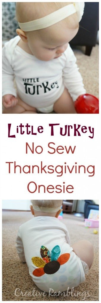 Little Turkey No Sew Thanksgiving Onesie using a #Silhouette