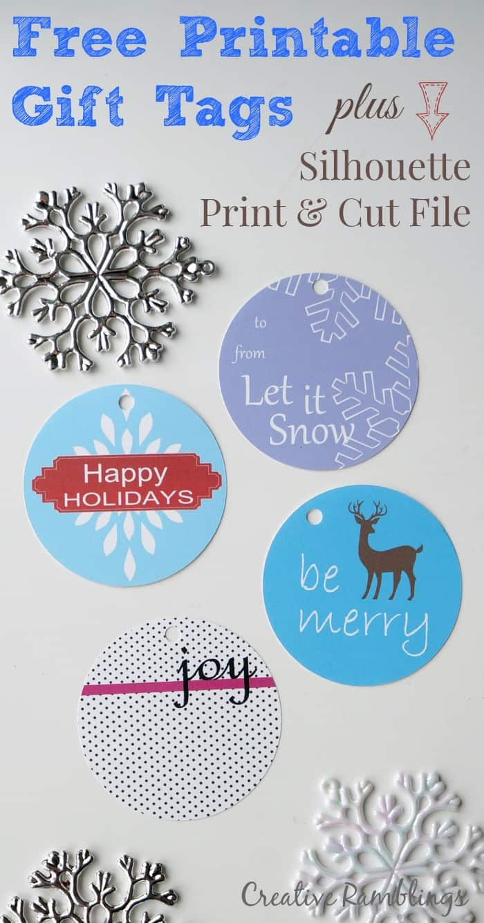Printable Holiday Gift Tags with #Silhouette Print and Cut File