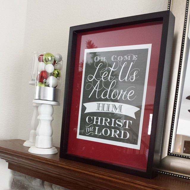 Christmas mantle is in the works. I am in love with this printable from @akadesigndotca