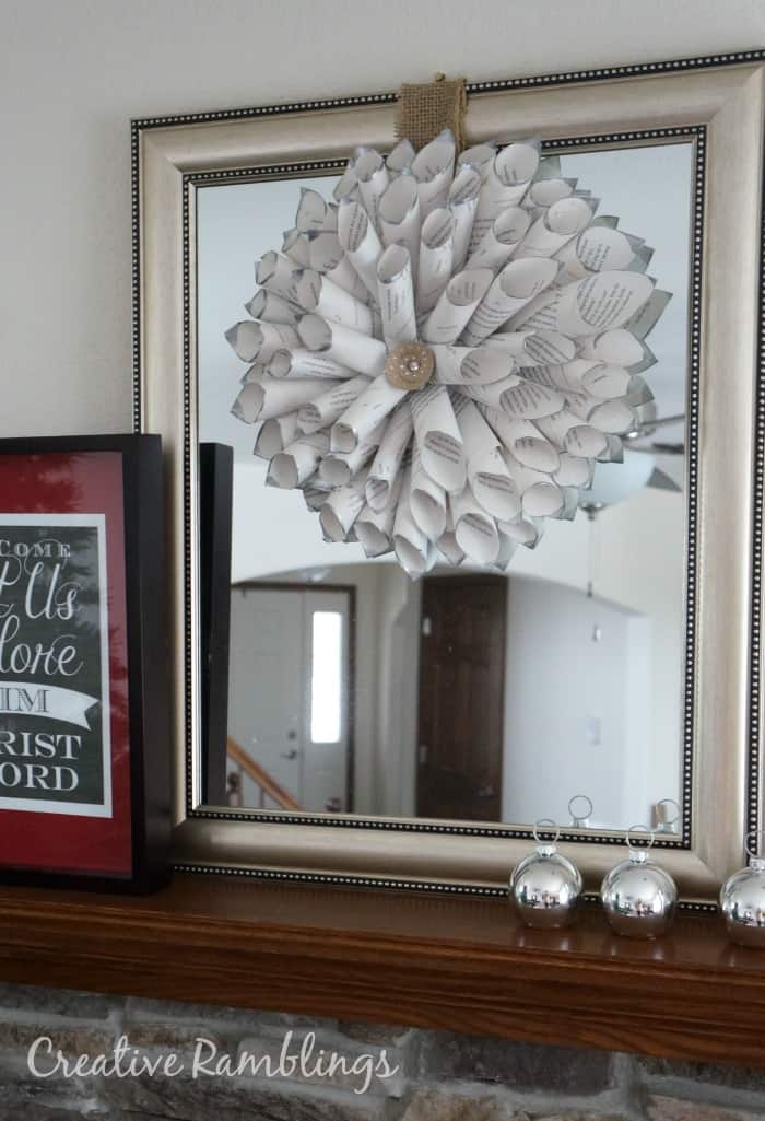 book page wreath with silver painted tips