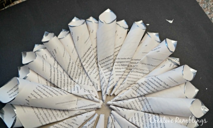 layering book page wreath