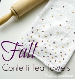 Fall confetti tea towels with metallic paint
