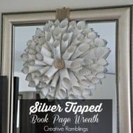 Silver Tipped Book Page Wreath
