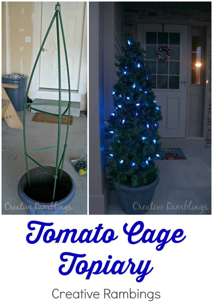 Thrifty Creative Living tomato cage topiary for a winter porch