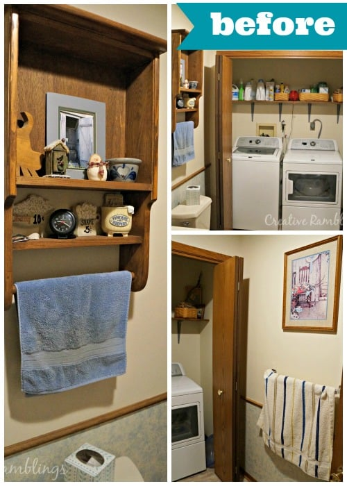 Bathroom and laundry room one day makeover simple projects great results #MyMenardsDIY