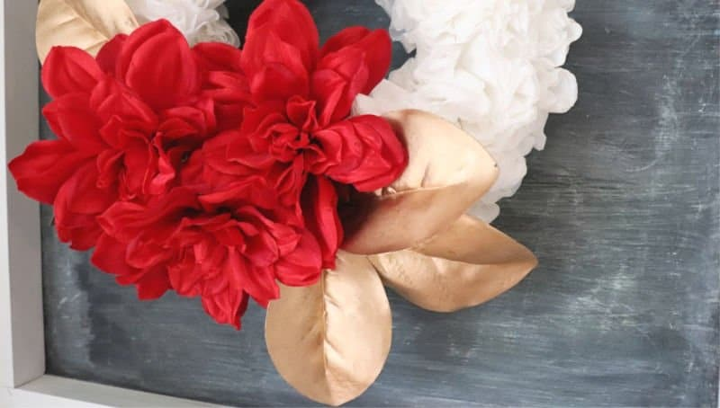 Chirstmas coffee filter wreath close up