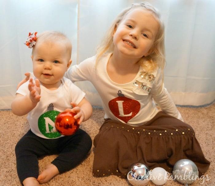 Glitter monogram ornament christmas shirts