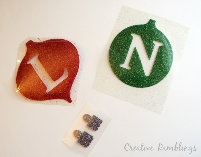 Glitter monogram ornament heat transfer vinyl