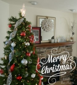 Red White and Silver Christmas Tree and Mantle