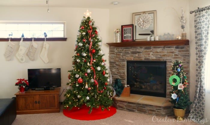 Red and White Christmas Living Room Tree and Mantle