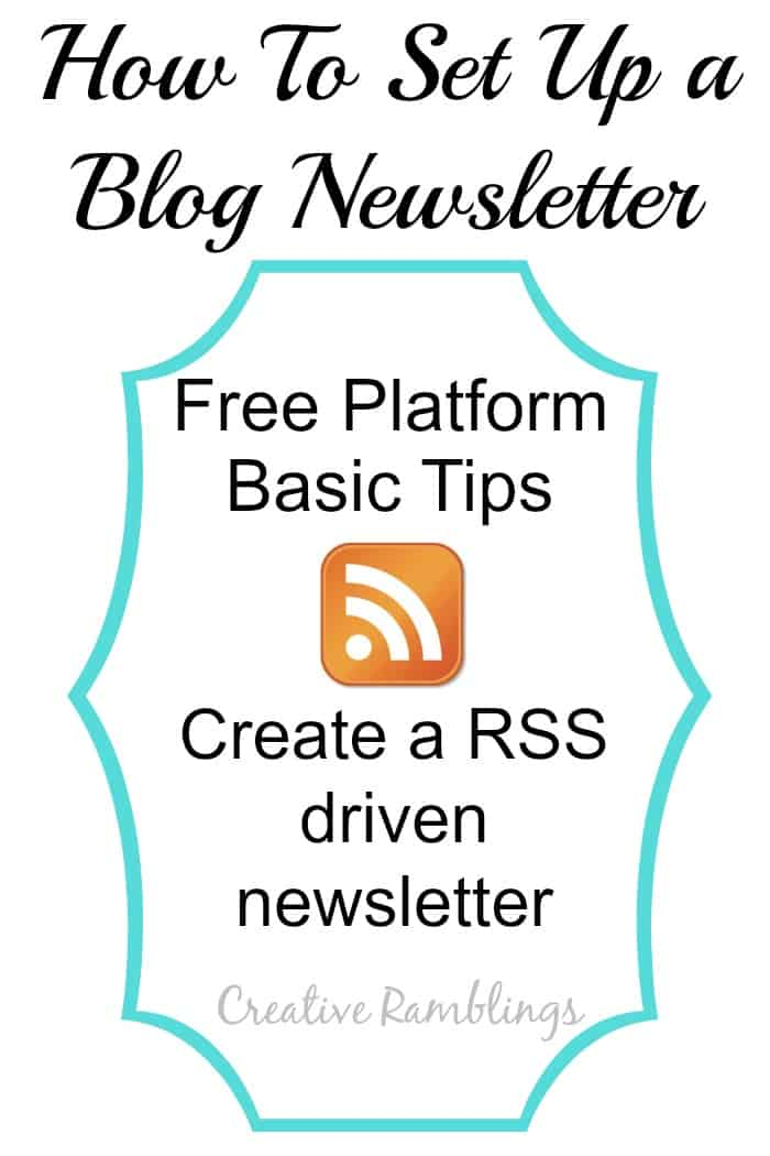 Set up a blog newsletter.  Basic tips, a free platorm, and step by step tutorial for setting up a RSS driven newsletter