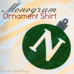 monogram christmas ornament shirt with glitter heat transfer vinyl and Silhouette