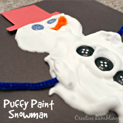 DIY puffy paint snowman
