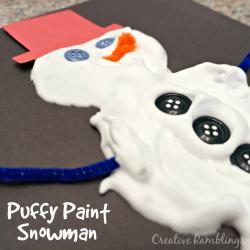 DIY puffy paint snowman