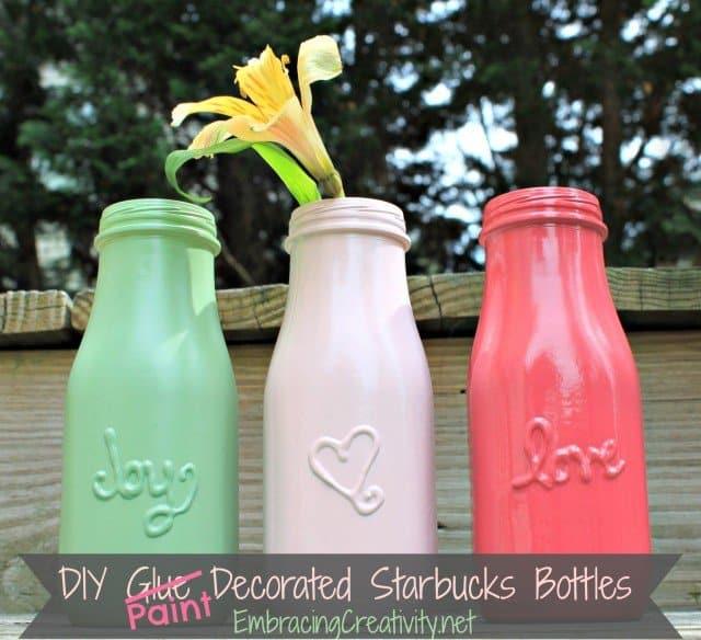 DIY Paint Decorated Starbucks Bottles