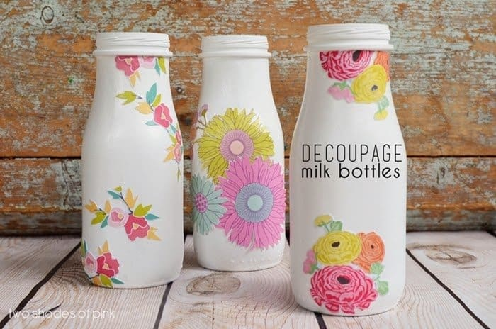 Decoupage Milk Bottles