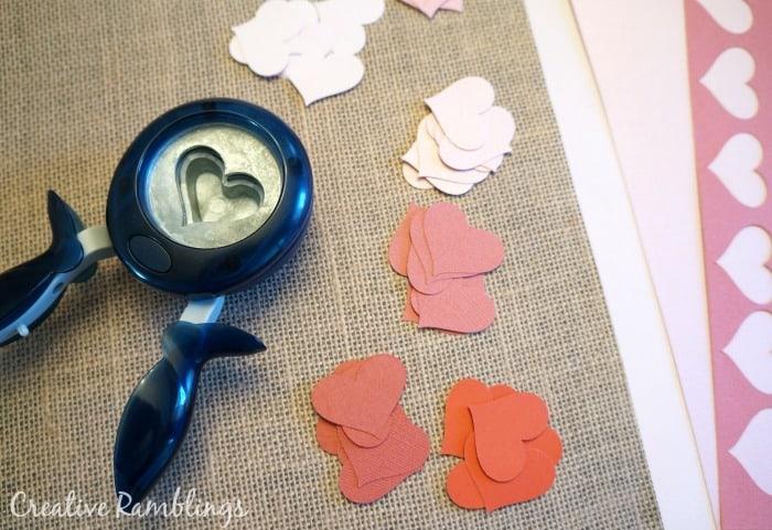 Supplies for paper heart valentine art