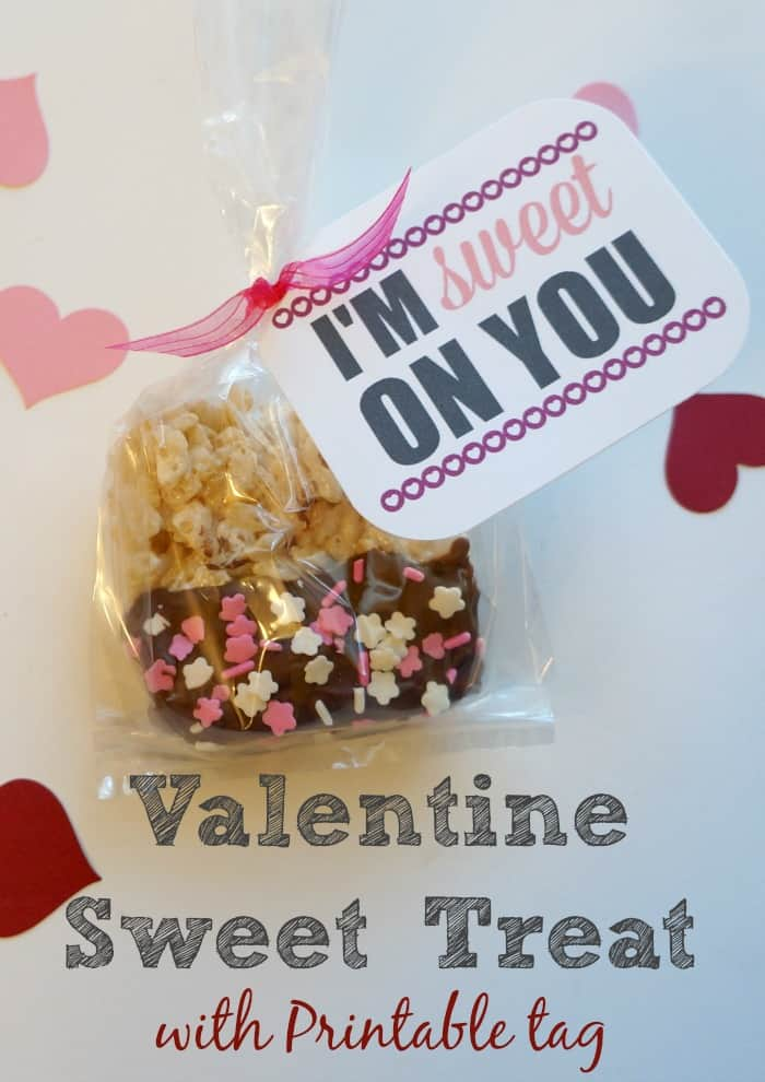 Valentine rice krispie treat with free printable tag