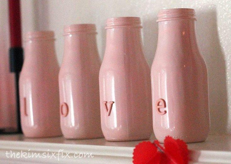 Valentine's Day Mantle with milk bottles