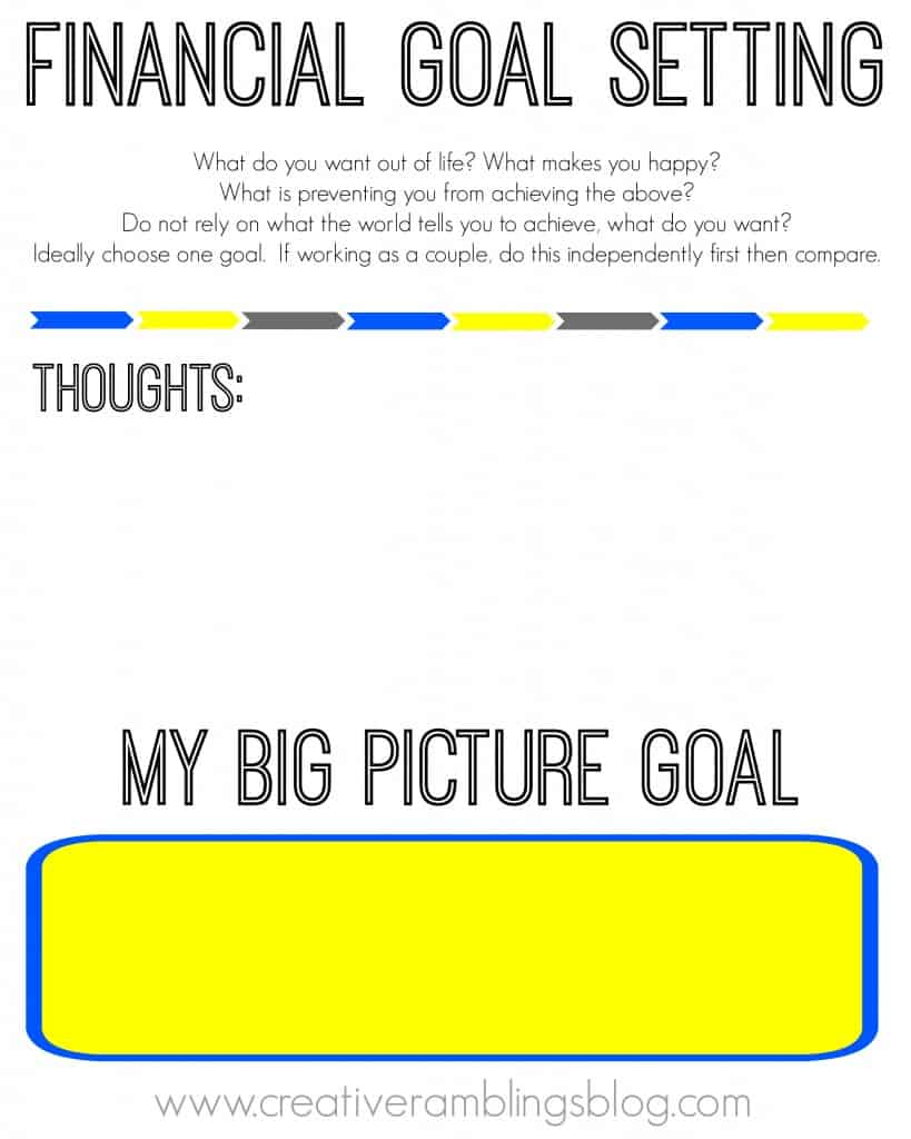Worksheets Financial Goal Setting Worksheet setting financial goals with free printable worksheets creative goal big picture goals