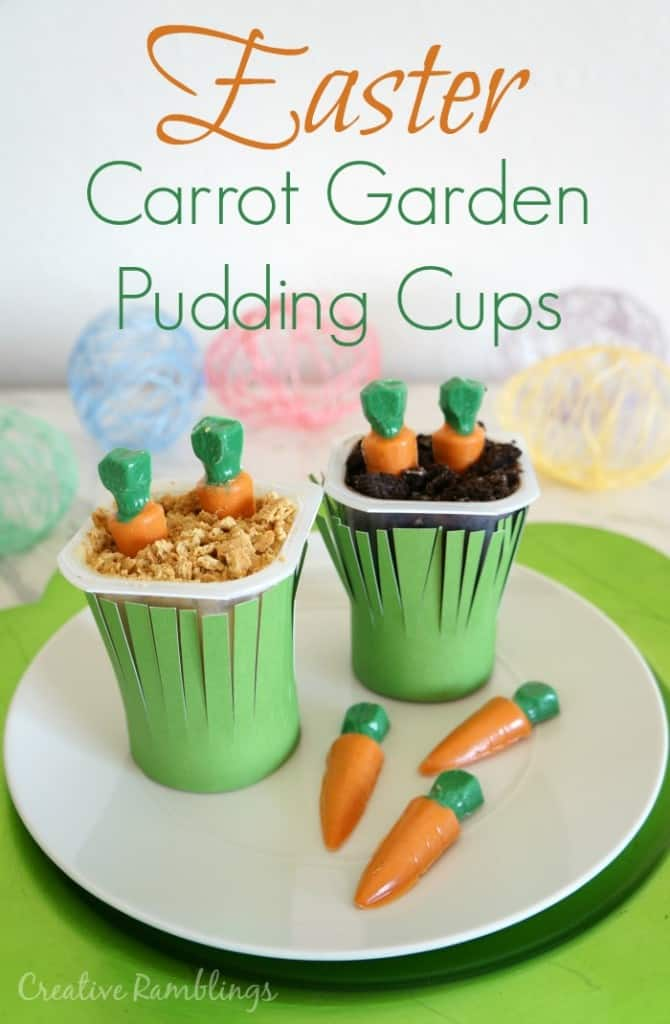 Easter Carrot Garden Pudding Cups.  An easy to make dessert using Snack Pack pudding cups.   #ad #SnackPackMixins