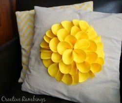 Felt petal no-sew flower petal. Easy video tutorial, make this cute pillow today.
