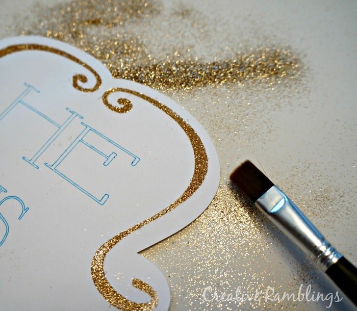 Gold glitter on Silhouete double sided adhesive