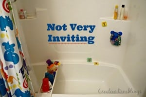 Guest bathroom with kids toys