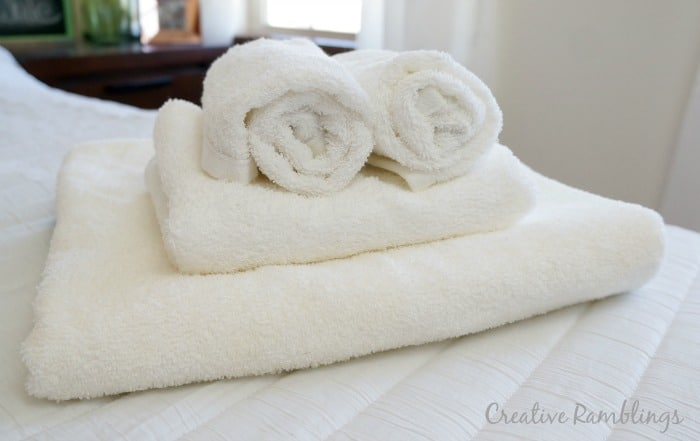 Guest bathroom essentials, clean fresh towels