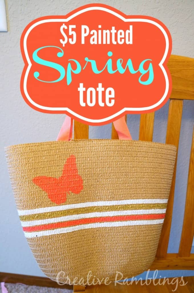 Painted Spring Tote.  A quick and easy $5 project.