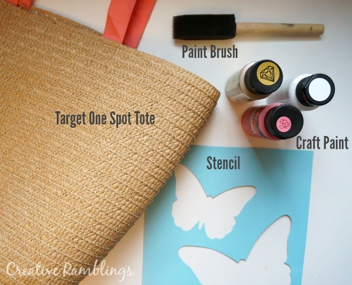 Painted spring tote supplies.