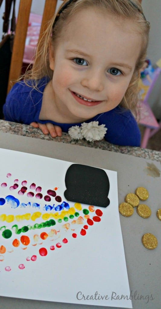 St. Patrick's Day finger paint rainbow and pot of gold craft