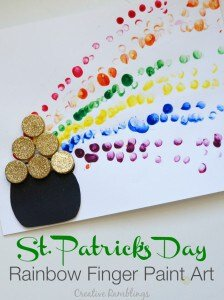 St. Patrick's Day rainbow finger paint kids craft